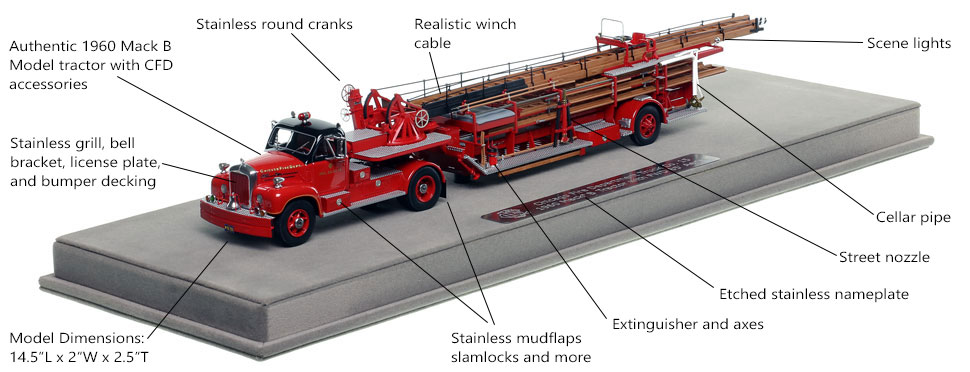 Features and specs of the Chicago 1960 Mack B Tractor with 1954 FWD 85' Aerial scale model