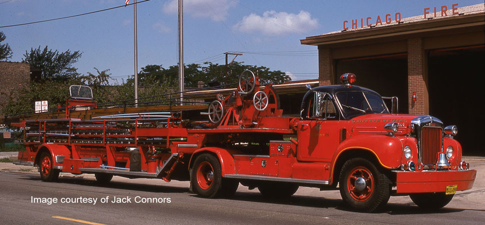 Chicago H&L 25 - Mack B Tractor with FWD Aerial courtesy of Jack Connors