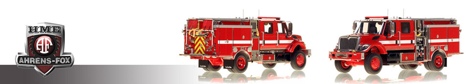 1:50 scale museum grade scale models of HME Ahrens-Fox fire apparatus
