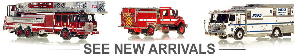 See the newly arrived museum grade scale model fire trucks!