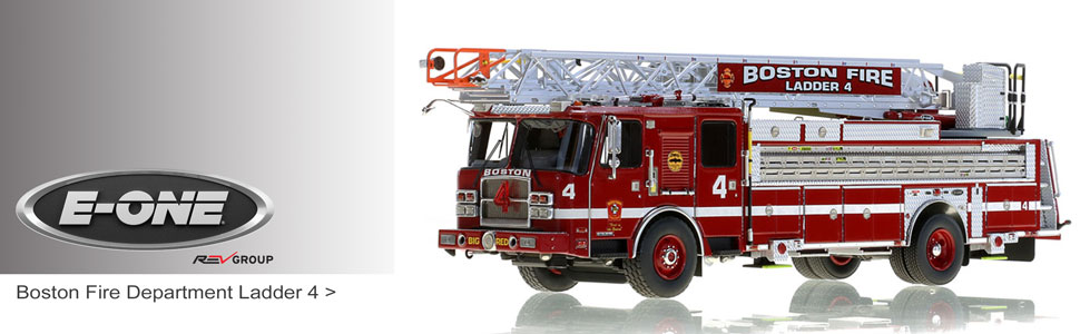 E-One scale models including Boston Fire Department Ladder 4