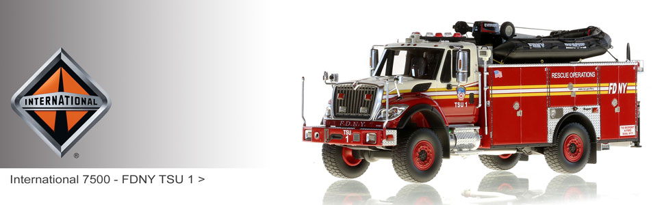 Shop International Truck scale models including FDNY TSU 1