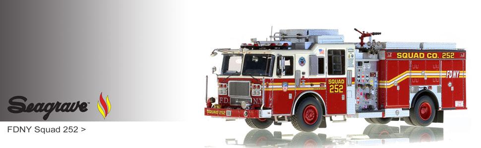 Seagrave scale model fire trucks including FDNY Squad 252