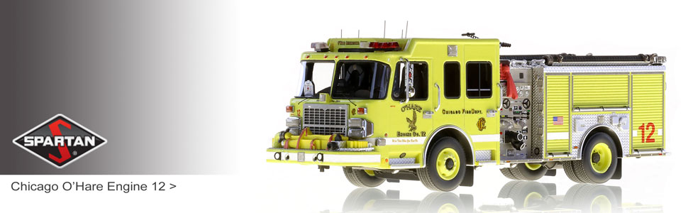 Shop Spartan scale model fire trucks including Chicago O'Hare Engine 12