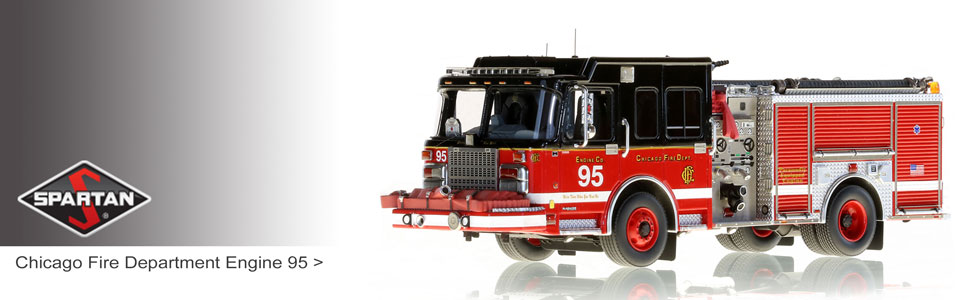 Shop Spartan scale model fire trucks including Chicago Engine 95