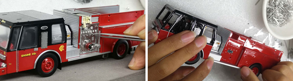Assembly pictures 7-8 of Chicago Fire Department E-One Hurricane Pumper scale models