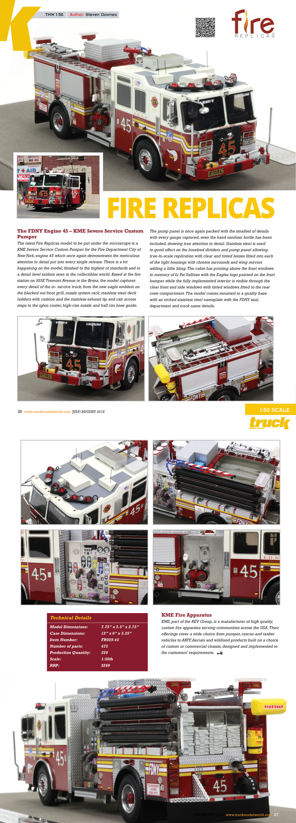 FDNY Engine 45 review as seen in Truck Model World, U.K.