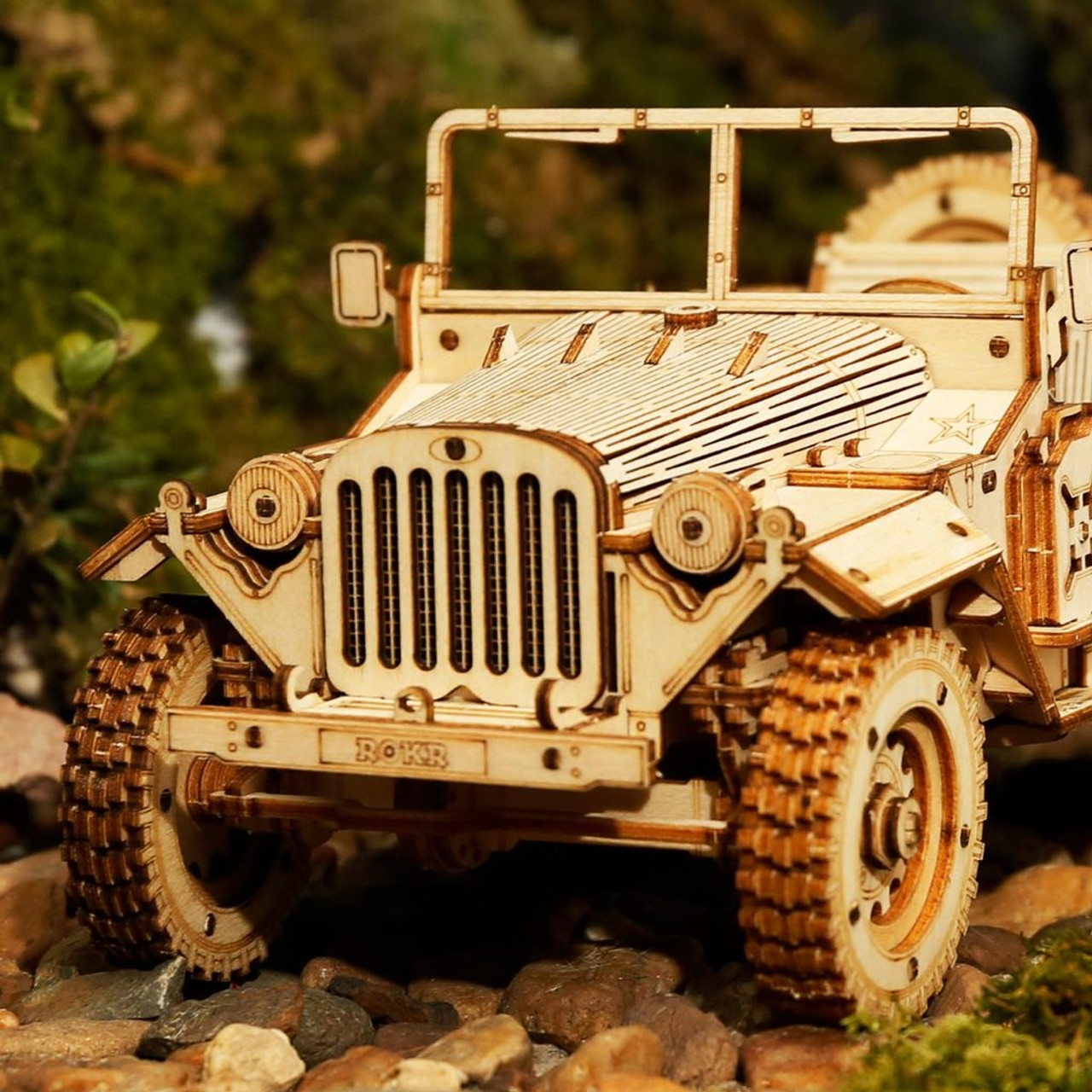Army Field Car Model Kit 3D Laser-Cut Wooden style of a WW2 JEEP Off Road 1940/'s