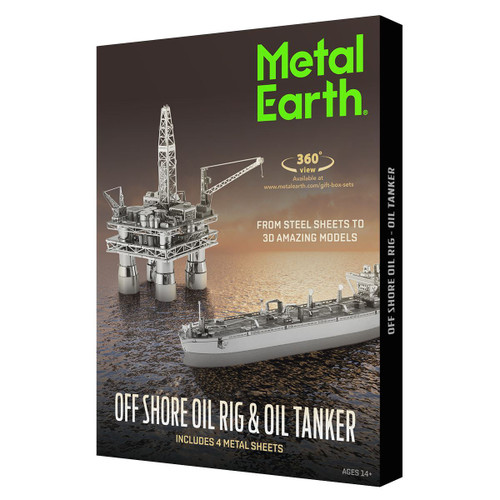 """Offshore Oil Rig & Oil Tanker Gift Set"" Metal Model Kits | Metal Earth"