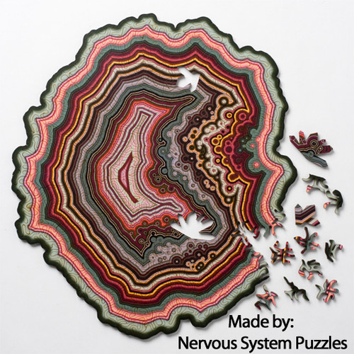 """Orbicular Geode"" UNIQUE *Maze Cut* Wooden 360 Piece Jigsaw Puzzle | Nervous System"