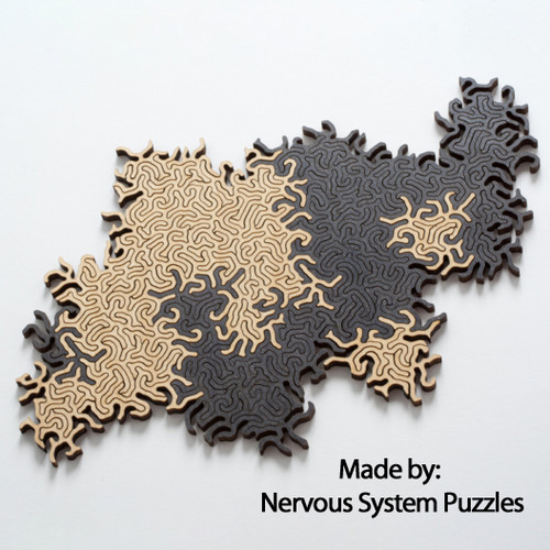 Maze Infinity Wooden Natural & Black, 126 Pieces, By Nervous System