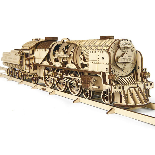 V-Express Steam Train With Tender Mechanical Wooden Model | UGears
