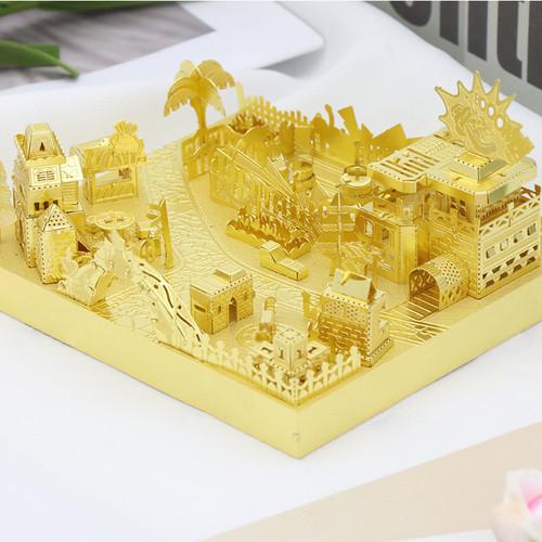 Amusement Park Bumper Car Module Gold Metal Model Kit [Includes LEDs & Battery] | MU Model
