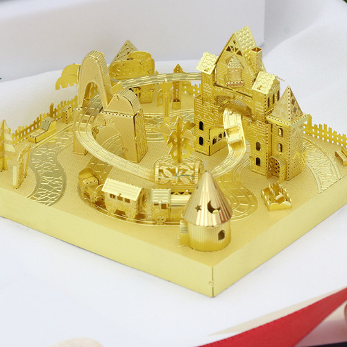 Amusement Park Roller Coaster Module Gold Metal Model Kit [Includes LEDs & Battery] | MU Model