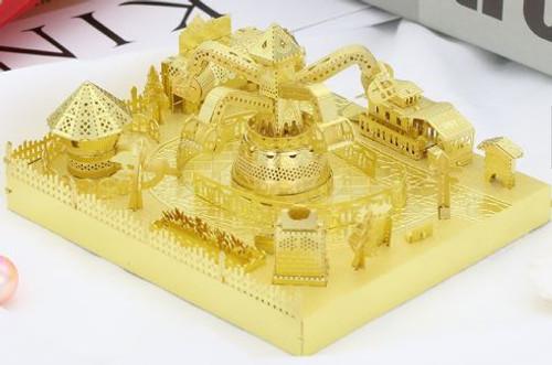 Amusement Park Whirligig Octopus Module Gold Metal Model Kit [Includes LEDs & Battery] | MU Model