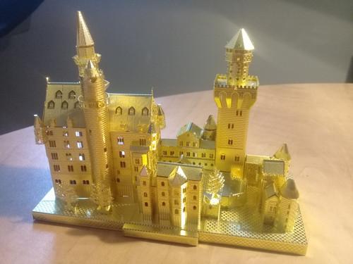 """Neuschwanstein Castle"" *Gold* Metal Model Kit | Microworld"