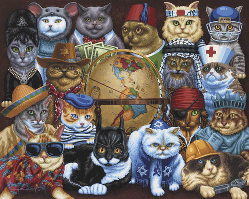 Cats Around The World 1000 Piece Jigsaw Puzzle   Dowdle