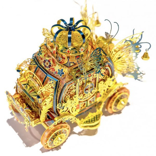 Princess Carriage - Blue & Gold - Metal Model Kit (With LED Lights!) | MU Models