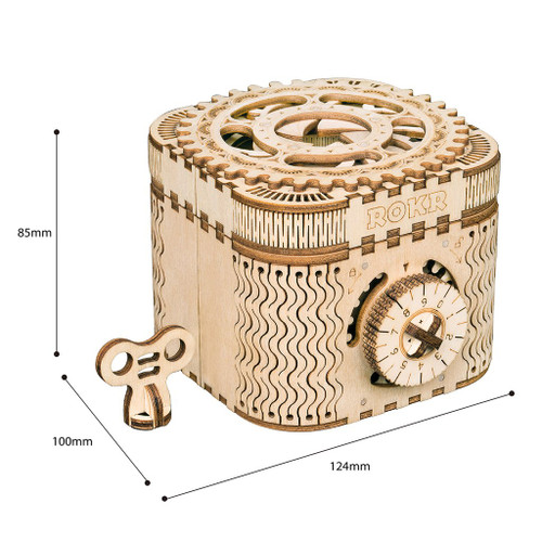 Treasure Box Locking Mechanical Wooden Model | Rokr