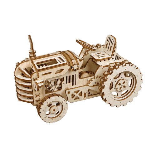 Tractor Spring Powered Mechanical Wooden Model Kit | Rokr