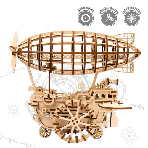 Airship Spring Powered Mechanical Wooden Model | Rokr