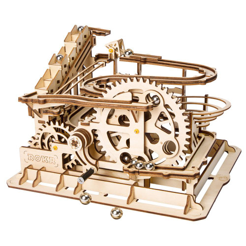 """Marble Parkour"" Waterwheel Coaster Mechanical Wooden Marble Run Kit 