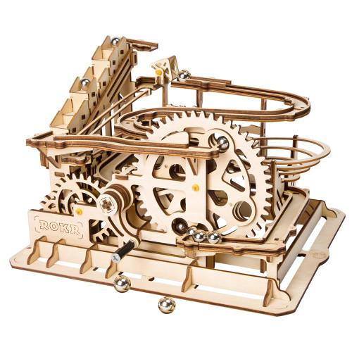 """Marble Parkour"" Waterwheel Coaster Mechanical Wooden Marble Run Kit | Rokr"