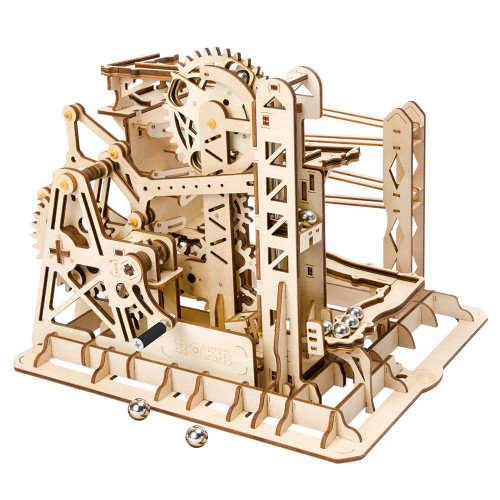 """Marble Explorer"" Lift Coaster Mechanical Wooden Marble Run Kit 