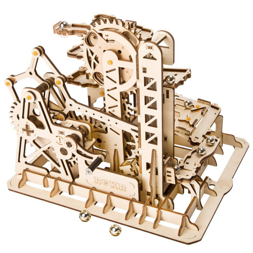 """""""Marble Climber"""" Tower Coaster Mechanical Wooden Marble Run Kit 