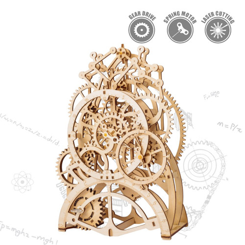 Pendulum Clock Spring Powered Mechanical Wooden Model Kit | Rokr