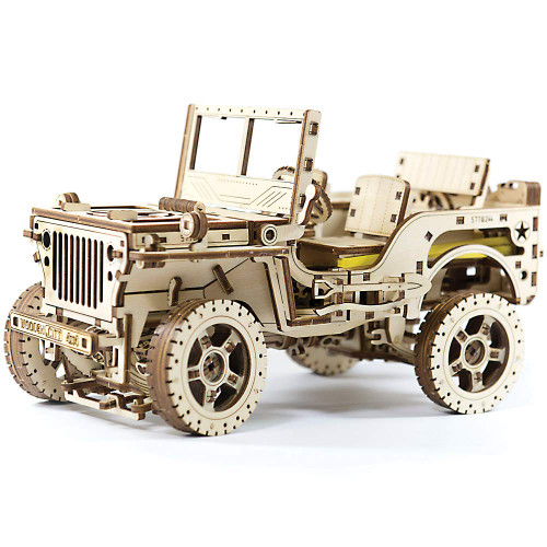 """""""Willys MB Jeep 4x4"""" Mechanical Wooden Model Kit 
