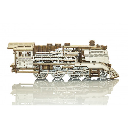 Express Locomotive With Rails Mechanical Wooden Model Kit | Wooden City
