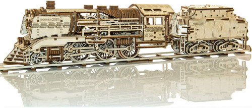 Express Locomotive + Tender With Rails Mechanical Wooden Model Kit | Wooden City