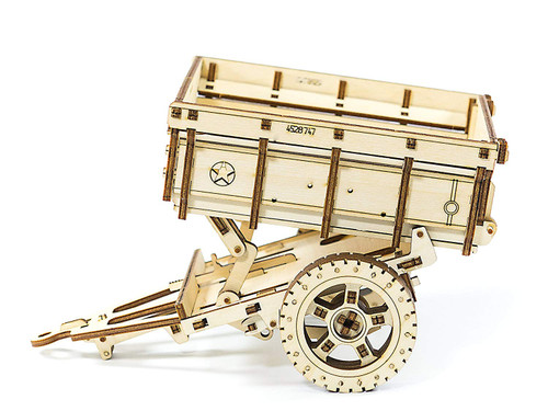 Trailer - Use With Jeep - Mechanical Wooden Model Kit | Wooden City