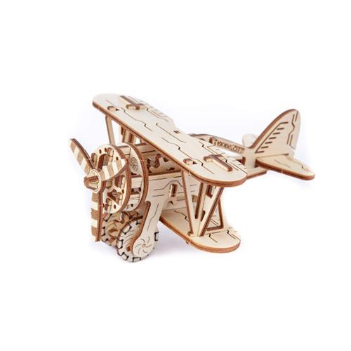 Biplane Mechanical Wooden Model Kit | Wooden City
