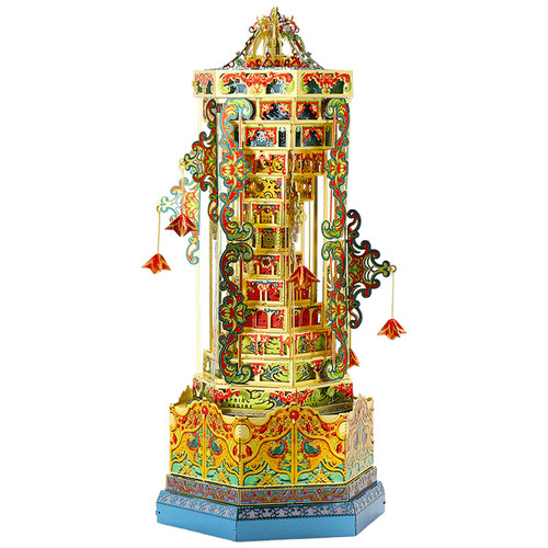 Tower of Babel Music Box Metal Model Kit [Includes LED, Battery, & Music Mechanism] | MU Model