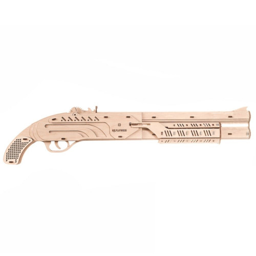 Rubber Band Shotgun Mechanical Wooden Model Kit | Mr. Playwood