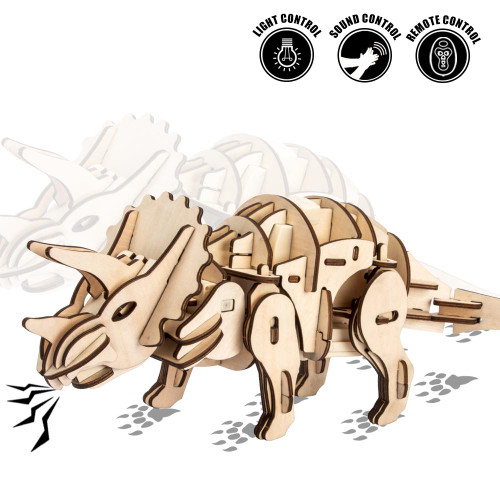 Walking & Roaring Triceratops - Light, Sound, & Remote Controlled Wooden Model Kit | Robotime Rokr