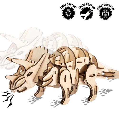 Walking & Roaring Triceratops - Light, Sound, & Remote Controlled Wooden Model Kit | Robotime Rokr