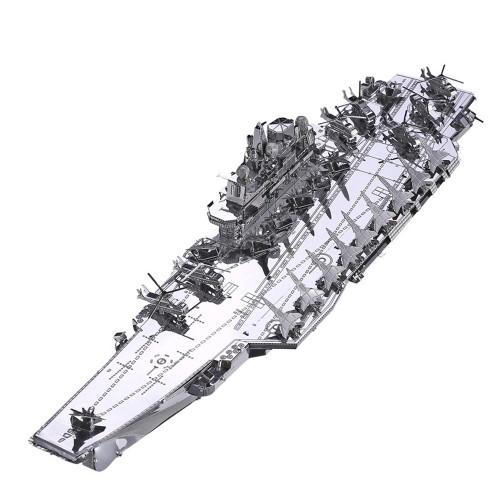 Plan Liaoning CV-16 Aircraft Carrier - Silver - Metal Model Kit   Piececool