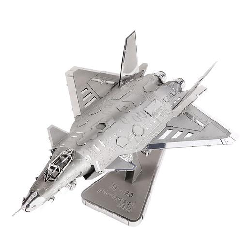 J20 Fighter Jet - Silver Version - Metal Model Kit | Piececool