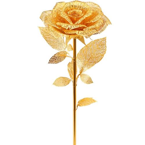 """Golden Rose"" *Pre-Assembled* Life-Size Metal Model | Piececool"