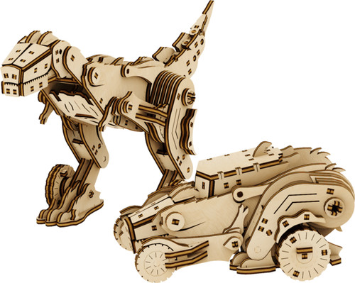 Dinocar Dinosaur Car Transformer Mechanical Wooden Model Kit | Mr. Playwood