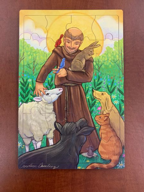 St. Francis 24 Piece Children's Wooden Jigsaw Puzzle | Whimsy Wood Puzzles