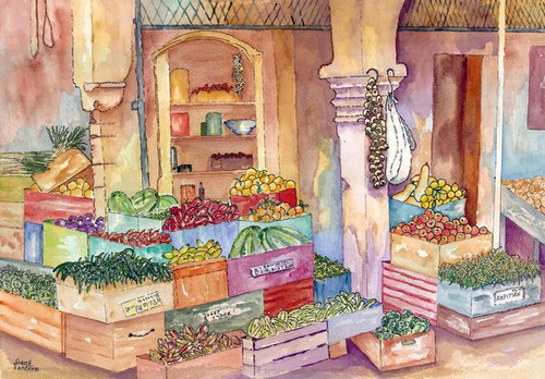 """Italian Marketplace 350 Piece """"Standard Cut"""" Wooden Jigsaw Puzzle 