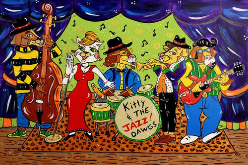 Kitty and the Jazz Dawgs 500 Piece *Wild Cut* Wooden Jigsaw Puzzle | Whimsy Wood Puzzles