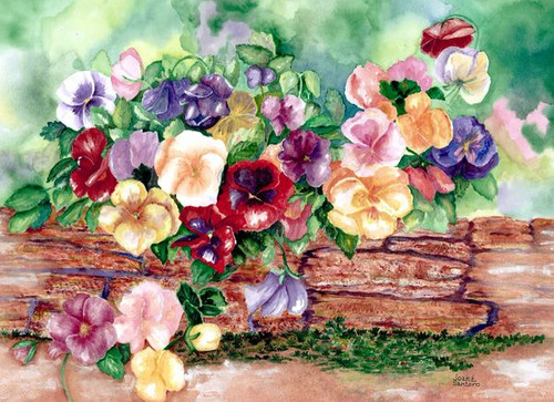 """Pansies in Springtime 450 Piece """"Whimsy Cut"""" Wooden Jigsaw Puzzle 