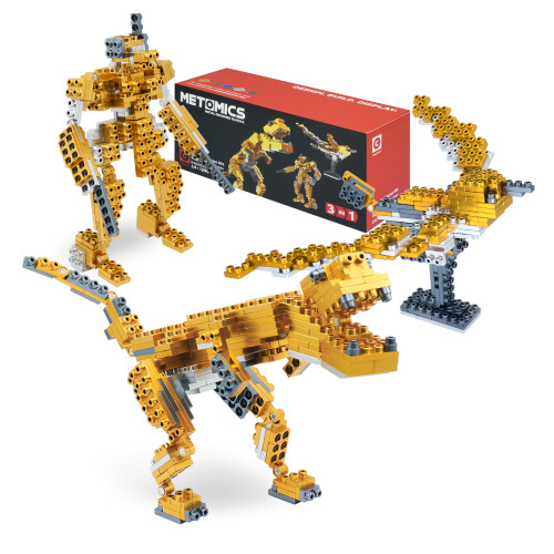 T-Rex, Mecha, Sparrow: 3 in 1 - Aztec Gold - Metal Designer Building Blocks | 290pcs | Metomics