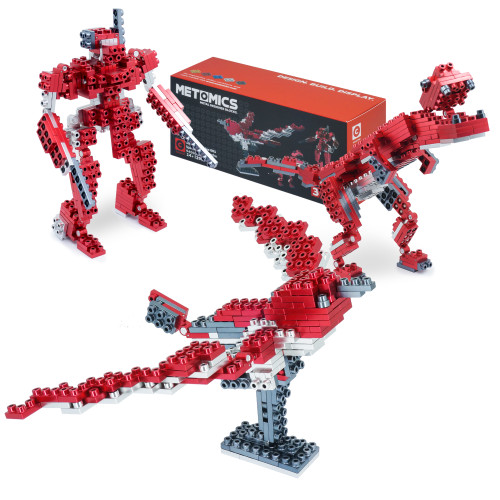 T-Rex, Mecha, Sparrow: 3 in 1 - Ruby Red - Metal Designer Building Blocks | 290pcs | Metomics