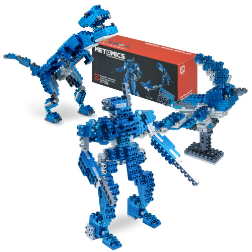 T-Rex, Mecha, Sparrow: 3 in 1 - Azure Blue - Metal Designer Building Blocks | 290pcs | Metomics